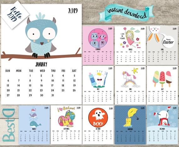 2019 2018 Kids Calendar2019 Funny Printable Calendar13 Pages Etsy