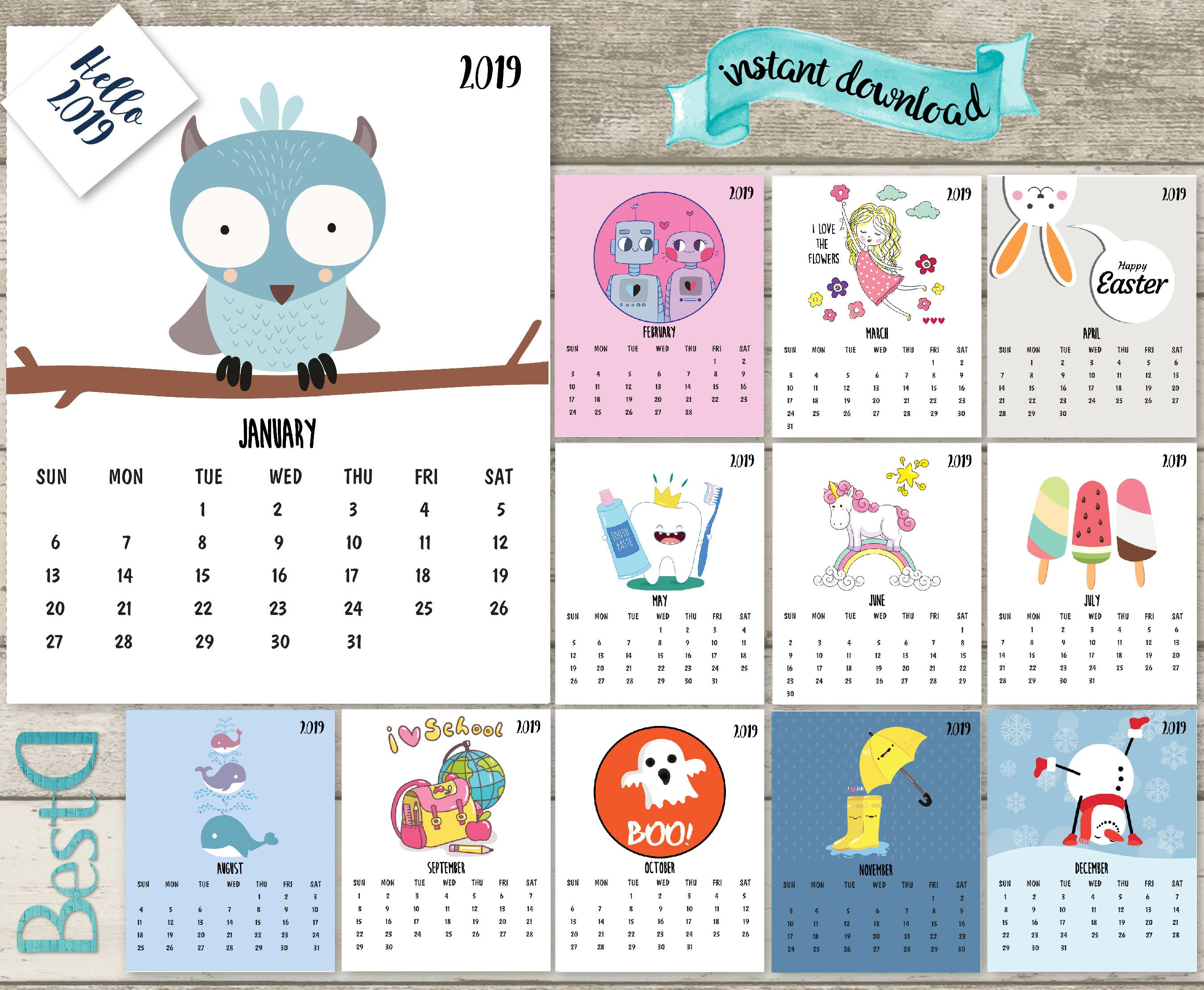 2019-2018 kids calendar2019 funny printable calendar13 pages | Etsy