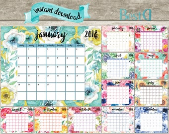 2018 printable planner calendar,watercolor planner calendar,watercolor flowers calendar,monthly planner calendar,Instant Download calendar