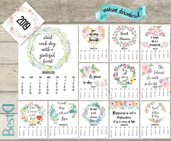 2019 2018 Quote Printable Calendar2019 Watercolor Flowers Etsy
