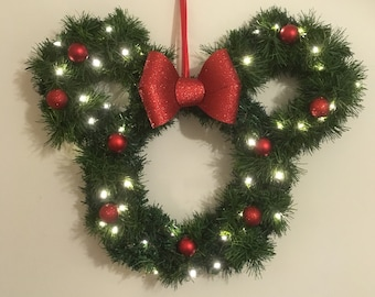 extra special disney inspired christmas door wreath in style of minnie mouse lights up
