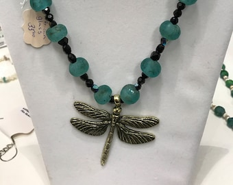 Recycled African glass beads with dragonfly necklace