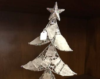 Genuine Frosted Sea Glass Christmas Tree