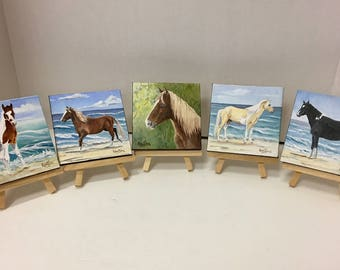 Chincoteague Pony Paintings on 4x4 Canvas by Artist, Linda Kantias