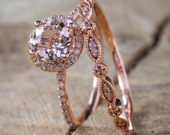 Sale on Antique Vintage Design Milgrain 2 carat Round Morganite and Diamond Halo Bridal Wedding Ring Set in 14k Rose Gold for Women