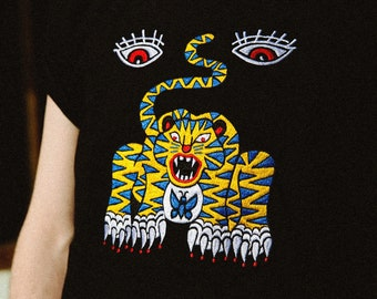 69f5dc8e T-shirt Magic Tiger Embroidery Rocky Grononos