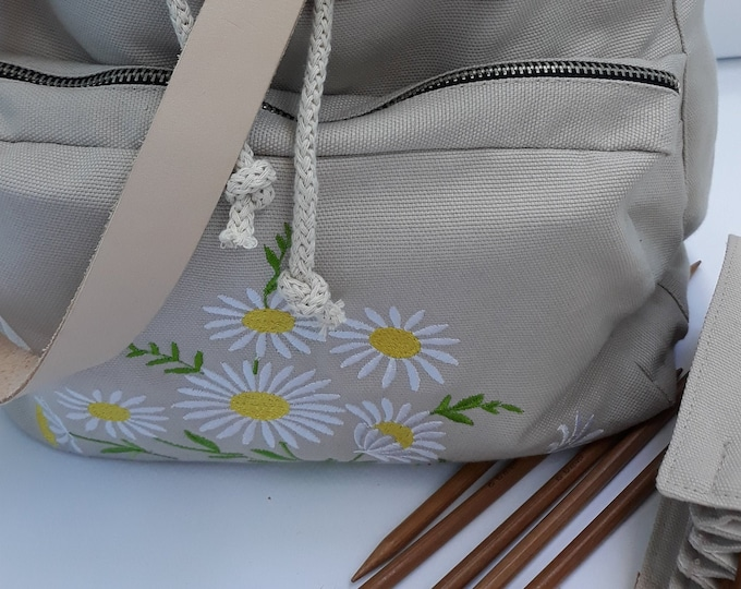 Embroidered Cotton Canvas Drawstring Convertible Backpack/ Bag, Project Bag