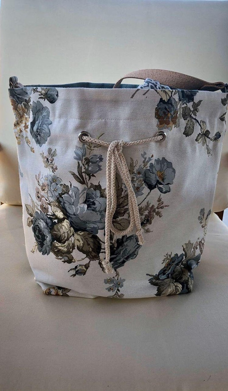 Italian Vegetable Tanned Leather Strap Big Cotton Floral Print Drawstring Bag