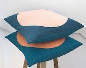 Modern Cushion Cover Denim Blue Quilted Cushion Minimalist Cushion Cover Throw Pillow Housewarming Gift