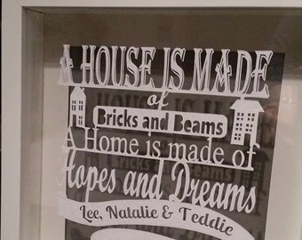 A house is made of... Handcut personalised papercut