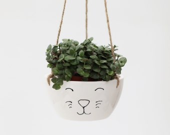Hangar avec chat visage /Ceramic plante Pot blanc / céramique poterie à la main / intérieur cache pot /gift pour les amoureux des chats / mignon animal planteur