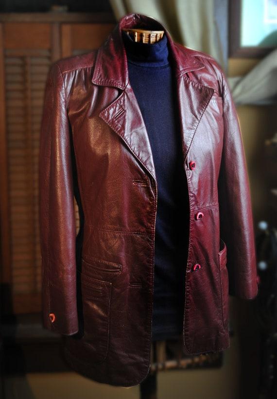 5ce455d3a Vintage Etienne Aigner Leather Jacket Two Button Blazer Burgundy Lined  Womens Sz 10