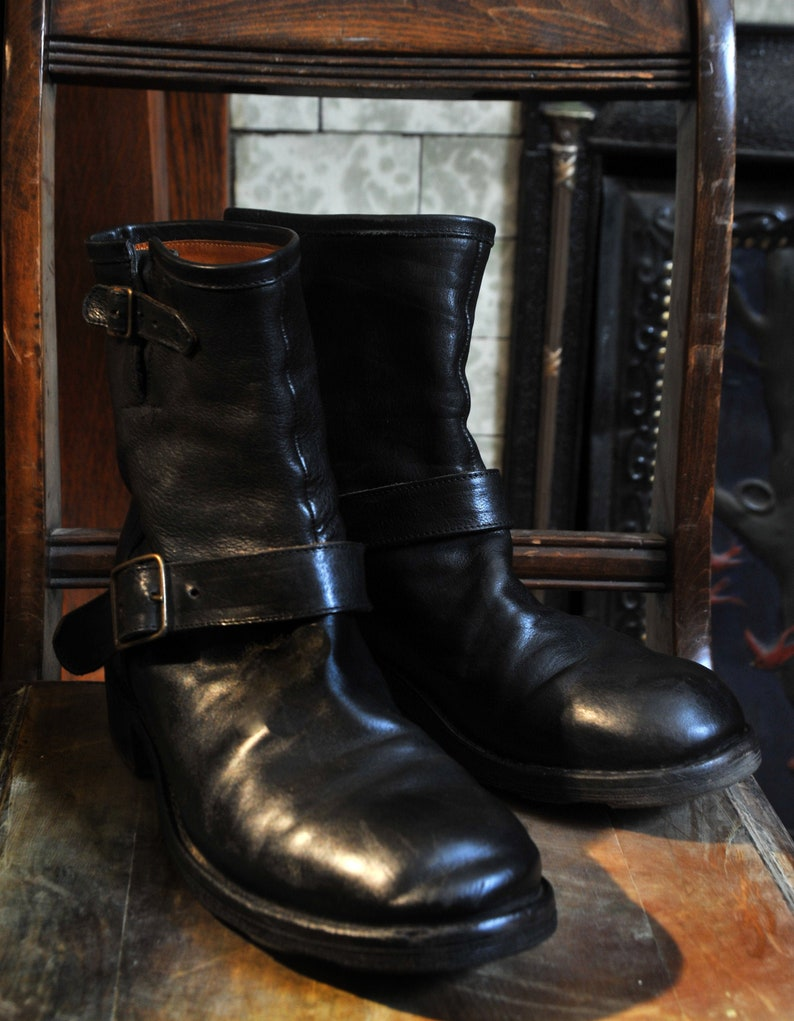 260347aade6af Fiorentini + Baker Italian Black Leather 2 Buckle Motorcycle Biker Boots  Mens 10 or 43 Rare Moto Style