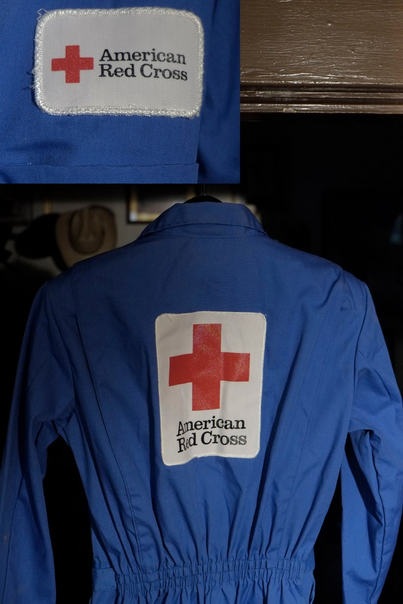 Womans MS Excellent condition -Large Back Patch American Red Cross Blue Jumpsuit made in USA Long  Sleeves Belt