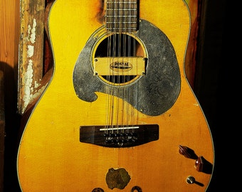 Vintage Yamaha FG-260 12 String Guitar Instrument Acoustic/Electric Modified to Steampunk 1970's