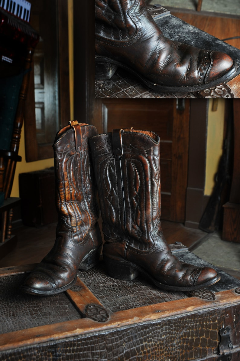 ee4e7ae57cd70 Vintage 60's Texas Western Cowboy/Cowgirl Boots Brown with Stitched Toes  Made in USA Men's 8 D Woman's 10