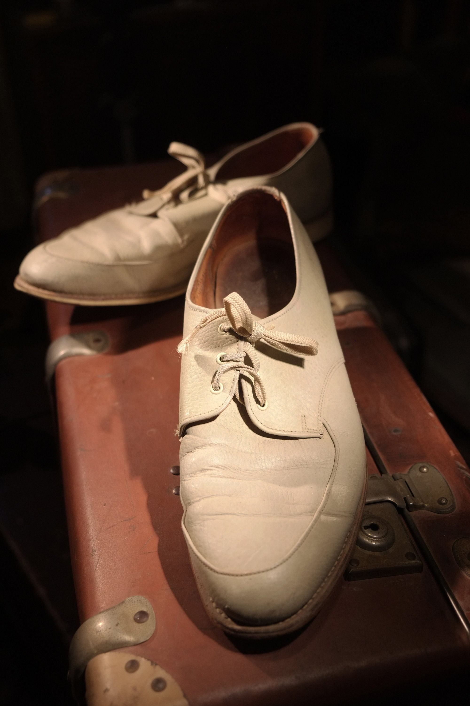 1950s Mens Suits & Sport Coats   50s Suits & Blazers 1950s Cream Leather Amf Bowling Shoes in Classic Mid Century Dress Shoe Style Size 10 - Not Only For $0.00 AT vintagedancer.com