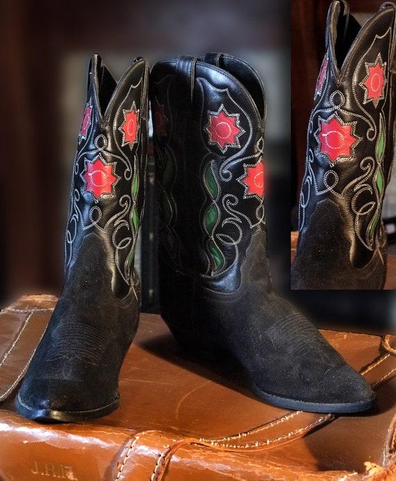 Tony Lama Vintage Black Suede Cowgirl
