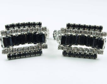 8d5c88c27b853 Vintage 80s earrings for women with black and white crystals
