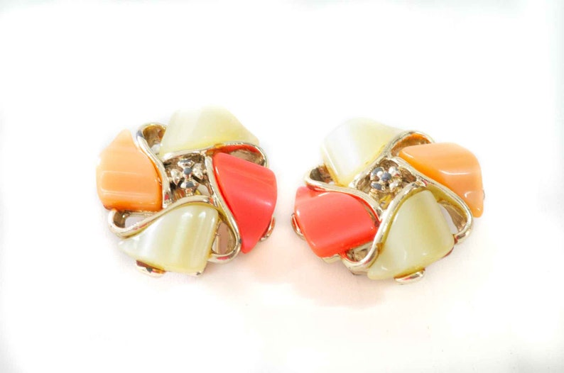 Vintage 70s orange and green lucite clip on earrings for women image 1