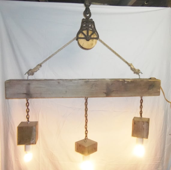Reclaimed Barn Beam And Pulley 3 Light Chandelier Etsy