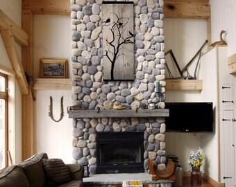 Reclaimed Barn Wood Wall Art - Birds in tree