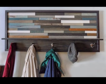 Long, Hand-Made, Rustic Modern, Reclaimed Wood Coat Rack with Shelf, Wall Art, Blues and Browns