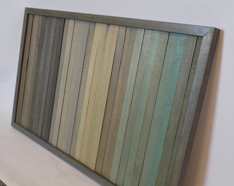 Large Reclaimed Wood Wall Art -- Green Fade