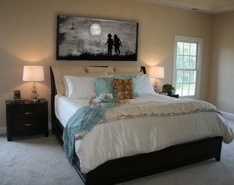 Reclaimed Wood Wall Art - Playing in the Moonlight, original painting