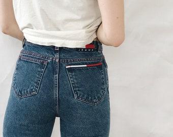 0353cfea Vintage High Waisted Dark Denim Tommy Hilfiger Mom Jeans // Women's Size 24  // Size 0