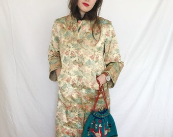 9282b429adb9f7 80s Asian Peony Brand Shanghai China Kimono Silk Jacket