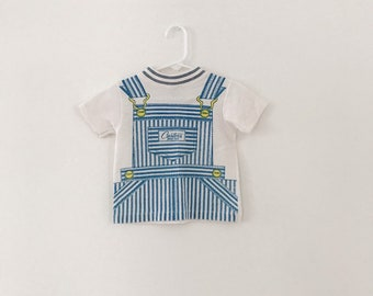 957c7175989 3T 70s Carter s Ringer Tee with Overall Graphic    Cotton Polyester T-shirt     Unisex Tee    Little Boys Little Girls