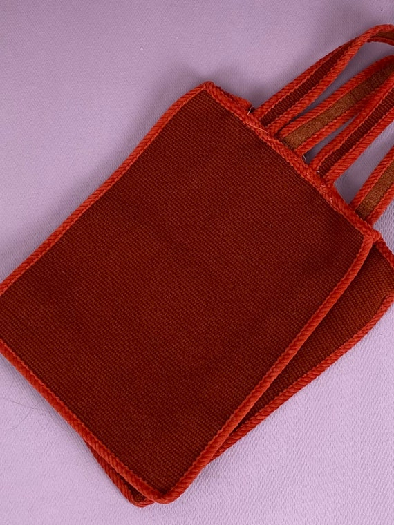 1960s two tone red tote bag - image 3