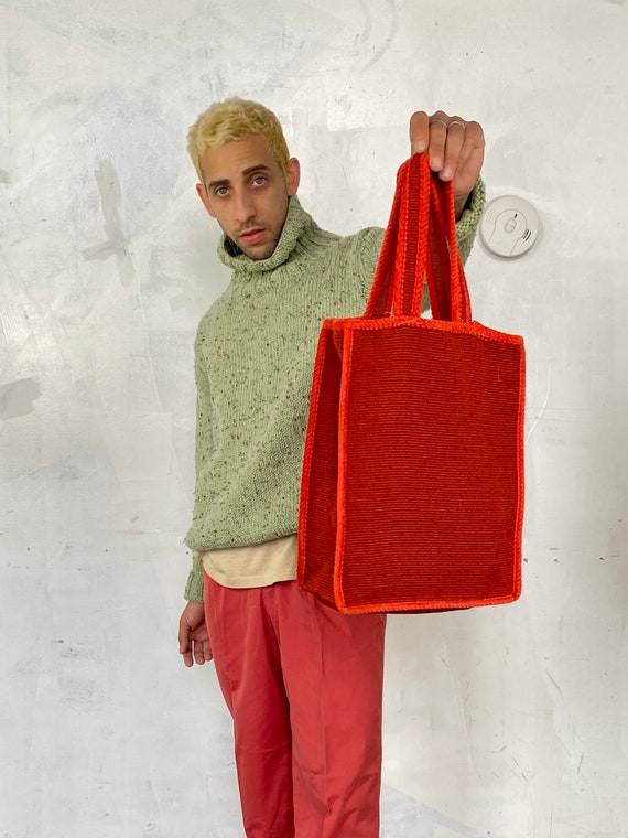 1960s two tone red tote bag - image 5