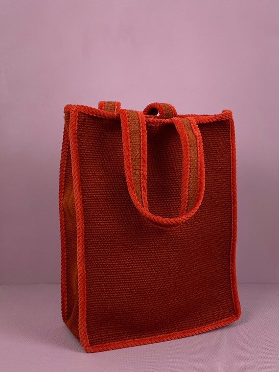 1960s two tone red tote bag - image 2