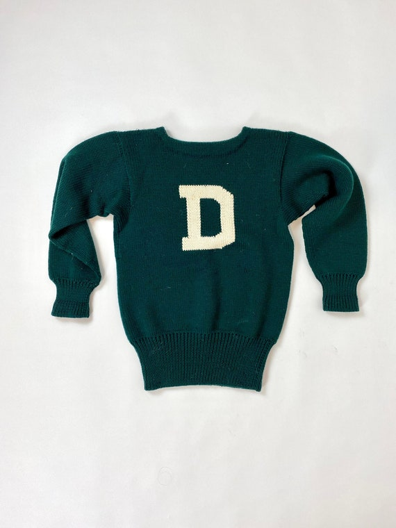 1950s Hand Knit Letter D Pullover Sweater