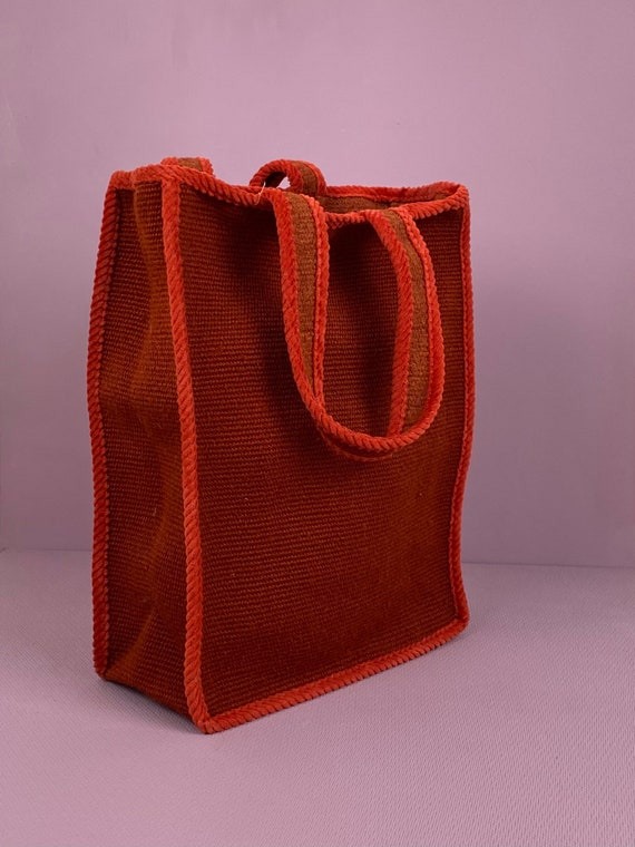 1960s two tone red tote bag - image 1