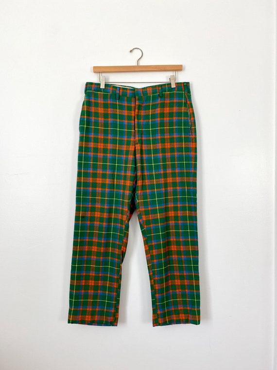 Green Plaid Wool Trouser