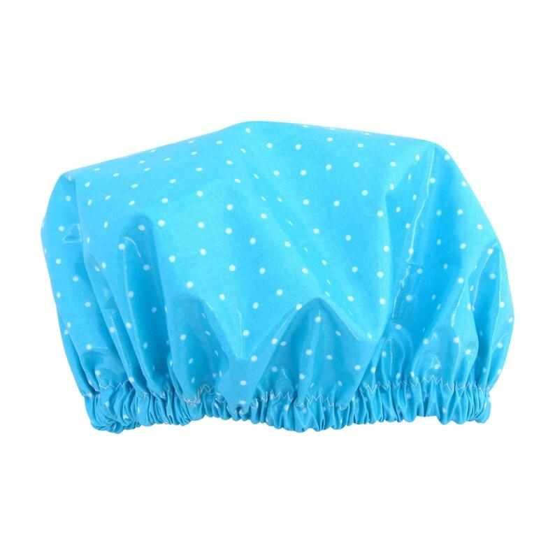 Shower Cap Made in Australia Laminated Cotton Aqua dots image 0