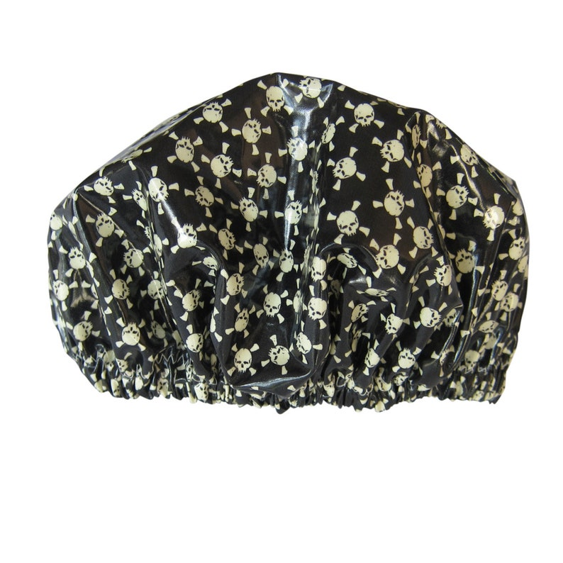 Black Skulls Adult Size Shower Cap /Shower Hat/ Hair Wash Cap image 0