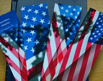 Patriotic Gift Under 15 USA Flag Bookmarks Set of 4 Red White Blue American Flag Gift Military Gift Veteran Gift Citizen Gift