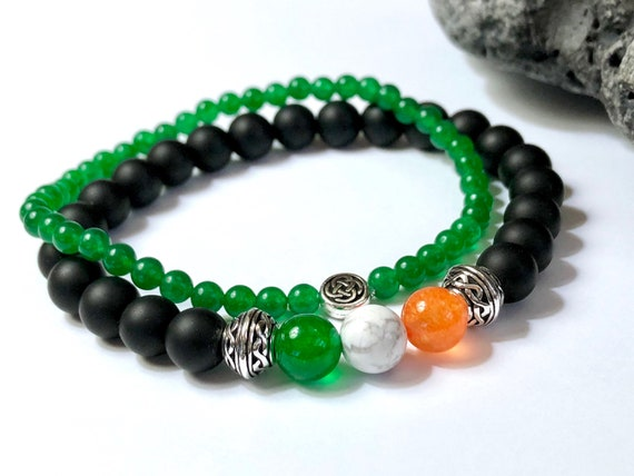 Celtic Knot and Optional Charm Irish Pub Onyx Bracelet CUSTOM SIZED Stone Bracelet Mens Womens Couples Bracelet