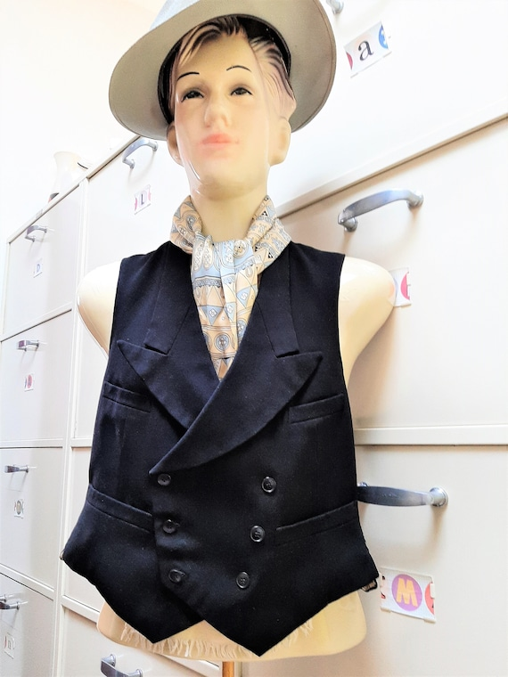 1930s French double breasted black waistcoat, vint