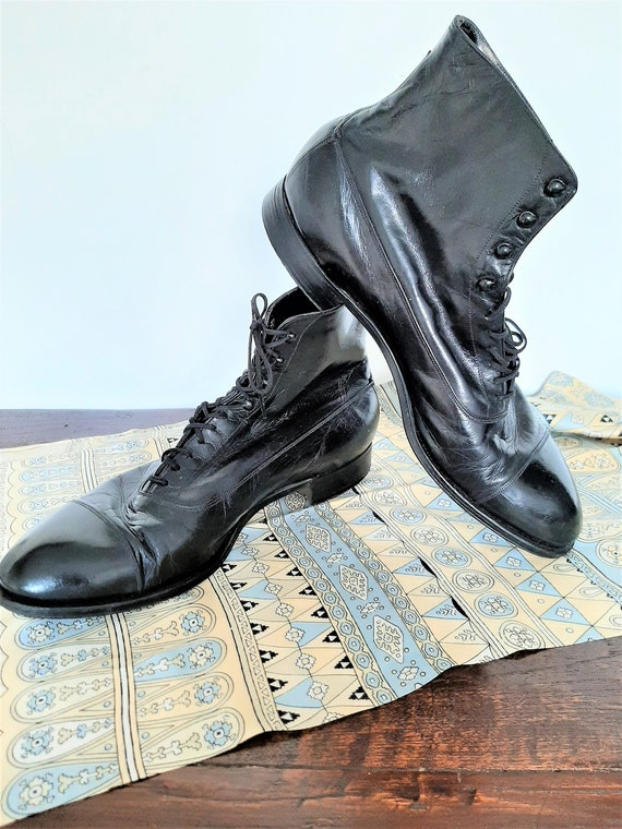 1930s French Mens Boots / Lace Up Black Leather An