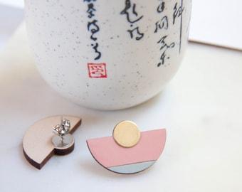 Baby pink, light blue geometric wooden fan post earrings, half-circle,round statement earrings, stud earrings, studs, natural wood, fan stud