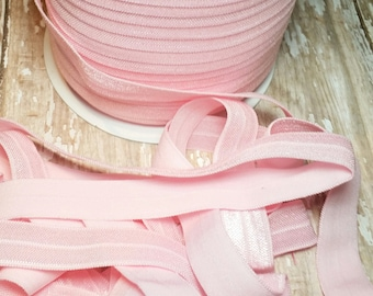 pink solid fold over elastic-100 yard spool-foe-wholesale headband supplies