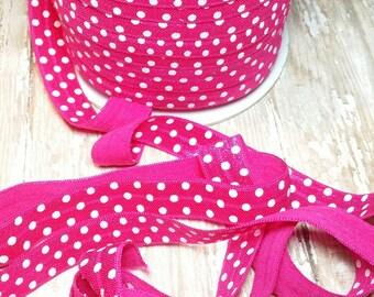 Hot pink polka dot foe printed fold over elastic