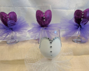 Hand Painted Wine Glasses with Tulle