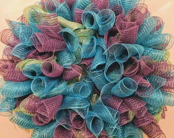 Deco Mesh Wreath in Sea Green, Turquoise, & Purple