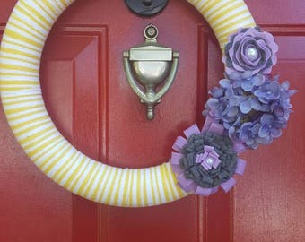 Yellow & White Yarn Wrapped Wreath with Purple and Grey Felt Flowers
